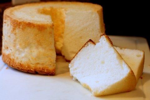 Sliced angel food cake