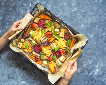 Roasted sweet potatoes and root vegetables