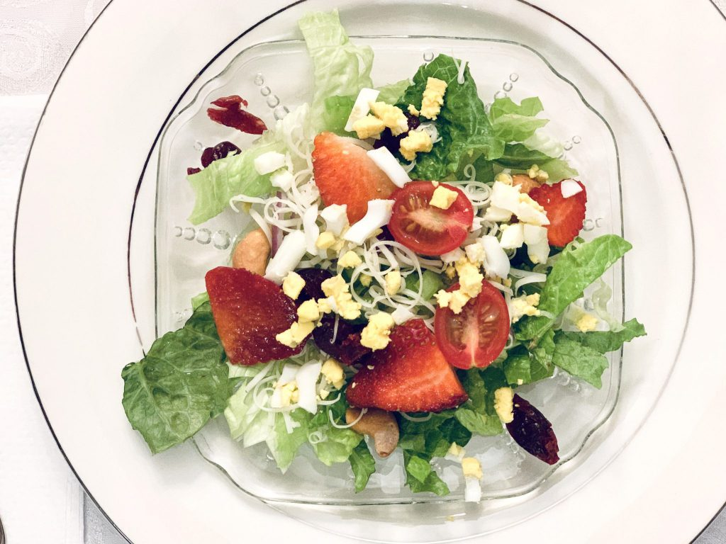Nutritious and elegant spring salad made with Nature's Yoke organic eggs