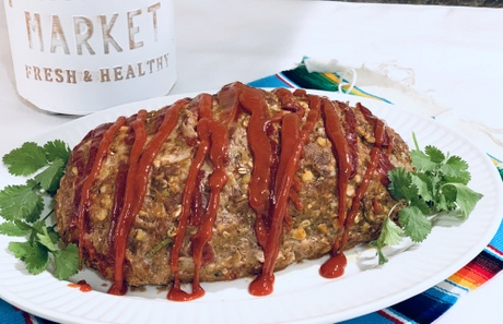 fresh and healthy southwestern meatloaf made with Nature's Yoke eggs with fresh cilantro on platter
