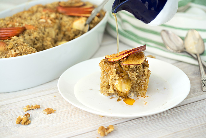 Maple Baked Oatmeal with Apples and Walnuts