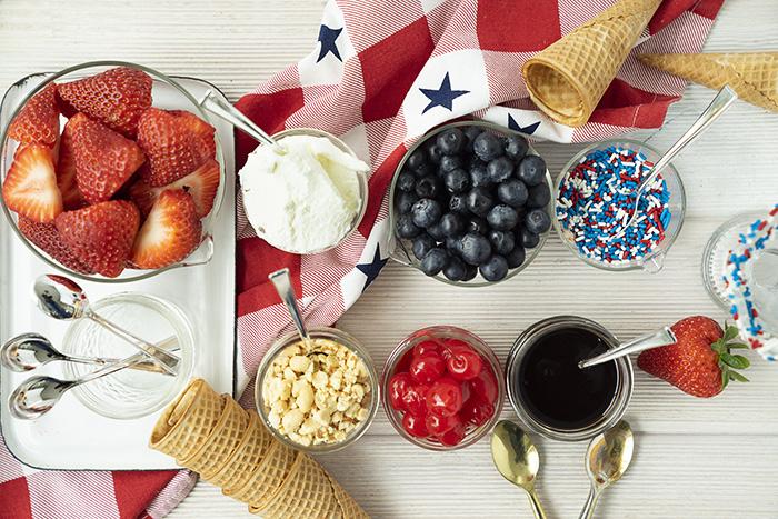 sundae toppings for red, white, and blue celebration